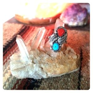 Jewelry - Sterling turquoise and coral Ring